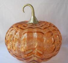 Large Orange Art Glass Pumpkin with Silver Stem Halloween Fall Autumn