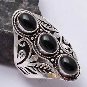 Black Onyx Ethnic Handmade Ring Jewelry US Size-8.5 AR 40672