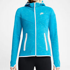 ⭐ £80 Nike Tech Fleece Hoodie Womens Large 14 UK Blue zip Hoody Girls GYM RUN