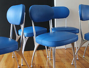 """Mid Century Shelby Williams 6 """"Gazelle 8000"""" Dining Chairs Aluminum&Leather BOLD"""