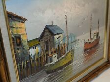 VTG HARBOR SHIP OIL ON CANVAS PAINTING MARITIME BOAT SEASCAPE FAUX BAMBOO FRAME