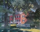WALTON BLODGETT BRICK HOUSE WATERCOLOR PAINTING WITH PEOPLE (VT 1908-1963)