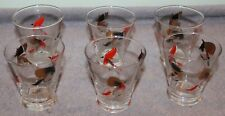 VINTAGE MID CENTURY MODERN SHOT GLASSES FISHING FLY LURES SIGNED METH LOT OF 6