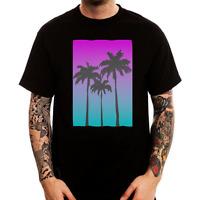 Vaporwave Miami beach palms blurred logo black printed cotton men t-shirt