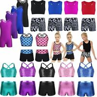 Girl Kid Dance Outfit Ballet Gymnastics Leotard Crop Top+Shorts Sports Swimwear