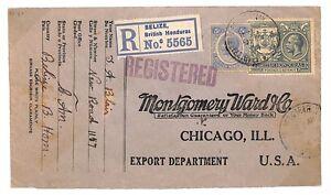 British Honduras Belize Cover 1924 Chicago USA Commercial Registered Usage TT144