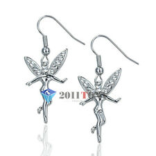 Adorable Tinkerbell Angel Dangle Earrings Use Swarovski Crystal 18K White GP