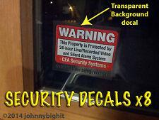 8 Security Alarm DECALS - Property, Home, Office, garage Window/Door stickers