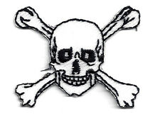 SKULL & CROSSBONES WHITE w/BLACK (SMALL)-Iron On Embroidered Applique/Pirates