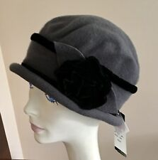 b931f5514a3c0 NWT Parkhurst Wool Cloche GRAY with Black Velvet Trim  35 PACKABLE