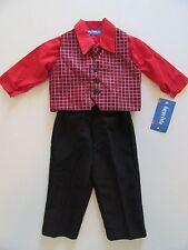 NWT Boy's 4pc Suit 12m Red Shirt-Tie-Vest-Pants Childs Photo Church Outfit Set