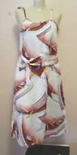 Lauhala Vintage Hawaiian Dress White  Floral Print Size Small New Without Tags