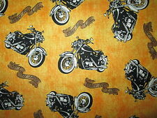MOTORCYCLE BIKER MOTORCYCLES BIKER FOR LIFE YELLOW COTTON FABRIC BTHY