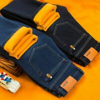 Winter Men Warm Jeans Business Casual Elasticity Thick Slim Denim Pants