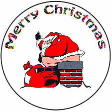 "Christmas Cake Topper Rude Santa  - Easy Precut Round 8"" (20cm) Icing Decoration"
