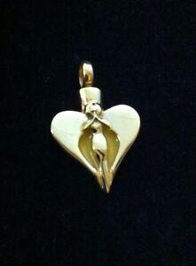 Beautiful Gold Heart Angel Cremation Pendant Urn Ashes keepsake Memorial Funeral