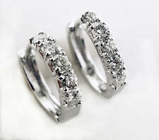 0.76 CT Natural Round Diamond 14k White Gold Hoops Huggie Earring