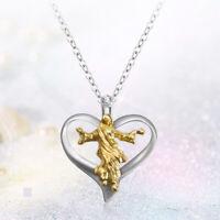 Geschenke Silberne Kette Jesus Anhänger Form des Herzens Halskette mit Kreuz