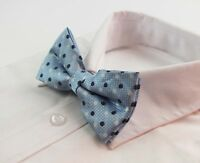 MENS LIGHT BLUE WHITE BLACK POLKA DOT BOW TIE Pretied Men Tuxedo Formal Wedding