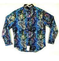 Robert Graham Paisley Sport Shirt Blue Multi-Color Classic Fit Mens Medium $198!
