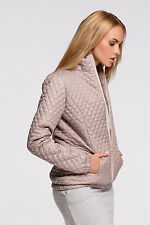 Ladies Quilted Jacket With Zip Pockets Coat Outwear Overcoat Sizes 8-12 FA478