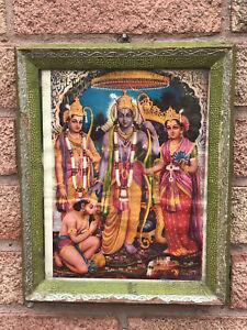 Vintage Indian Original Old Print of Krishna Lord Rama Hanuman Hindu Mythology