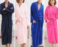 Women Men Coral Fleece Bathrobe Night Gown Flannel Lovers pajamas Sleep Robe NEW