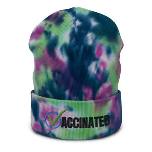 Vaccinated Check Embroidered Tie-Dye Beanie