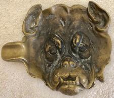 Vintage Brass Ashtray Bull Dog Face c.1930s'