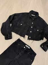 TOPSHOP Cropped Denim Jacket - Washed Black. Brand New! Size 6/8