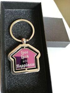 Purple Personalised House Shaped Keyring House Moving Gift + Black Gift Box