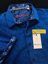Robert Graham Equinox Medallion Short Sleeve Sport Shirt Blue Medium $158