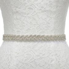 Satin Bridal Sash w/ Beaded Crystal Rhinestone Wedding Dresses Sash Belt