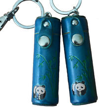 A Pair of Leather ChapStick/toothPick Holder,Pill Case.Panda Pattern. Blue