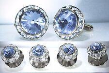 Light Sapphire Tuxedo Round Cufflinks & Studs Set Made With Swarovski Crystals