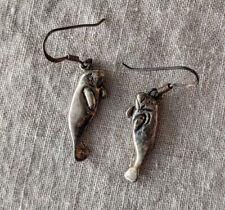 Sterling Silver Manatee Dangle Threader Earrings 3.4g