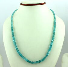 925 STERLING SILVER NATURAL BLUE APATITE BEADS GEMSTONE NECKLACE 25 GRAMS