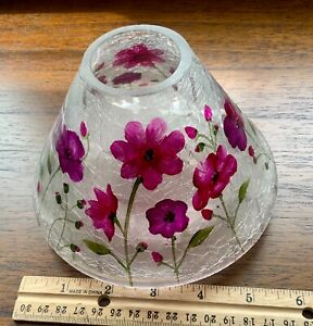 HAND PAINTED FLORAL CRACKLE GLASS HURRICANE LAMP SHADE