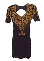 Dress, Sean, 100%-Silk Beaded Sequins Black-Gold Pearls Keyhole-Back XS