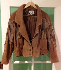 Yearbook leather hippie hippy tassel jacket brown Korea leather outer nylon