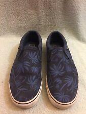 Vans Asher palm print Navy Blue Pewter sneakers Slip On Men's Sz 12