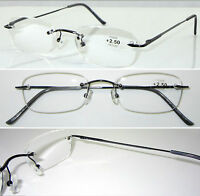 L60 Quality Classic Rimless Reading Glasses/Spring Hinge/Gun Metal Arm Spectacle