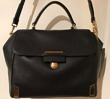 NWT MARC BY MARC JACOBS LEATHER SHELTERED ISLAND TOP HANDLE SATCHEL BLACK $528.