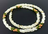 Vintage Natural Mother of pearl Pink Coral Green Jade Beaded Necklace 22""