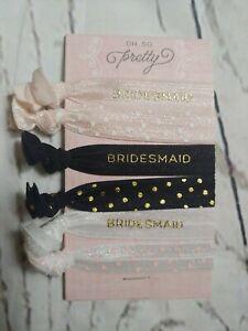 Oh So Pretty Bridesmaid Hair Ties Pink White Black NIP