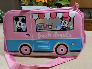 """Disney Mickey and Minnie Mouse Lunch Box. """"Fresh Donuts"""" Pink. New with Tags!"""