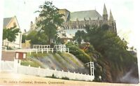 .c1911 RARE VIEW, ST JOHN's CATHEDRAL, BRISBANE COLOUR POSTCARD.