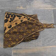 LOUIS VUITTON 100% Silk LV Monogram Leopard Brown Scarf #1917be Rise-on