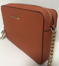NEW Michael Kors Jet Set Travel Gold Orange Saffiano Leather Crossbody Handbag