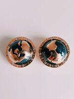 Kenneth Lane KJL STUPENDOUS Vtg Gold Plated Globe Earrings-MINT-Book Piece